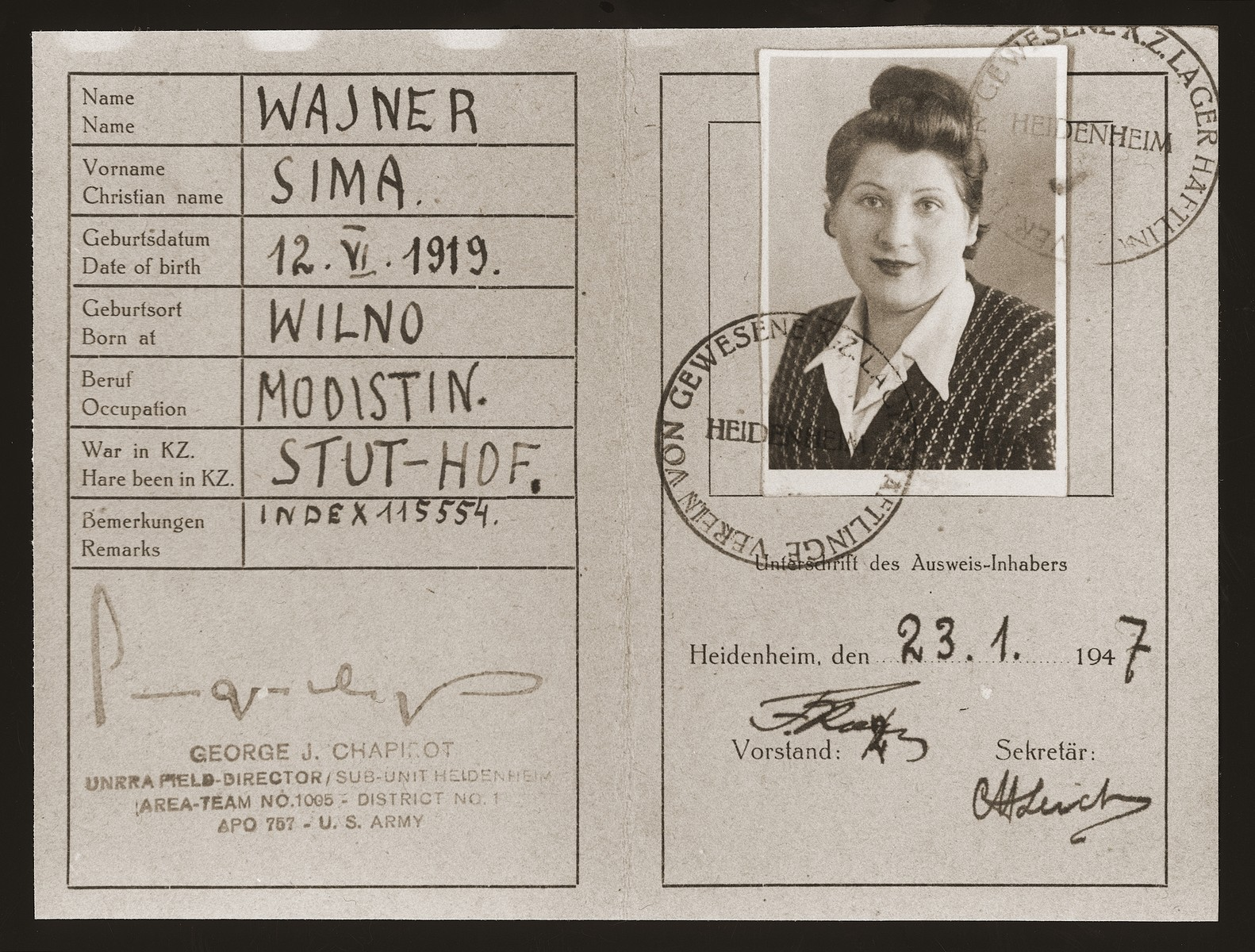 Inside page of an identification card issued to Sima Wajner, a former Jewish concentration camp prisoner now resident at the Heidenheim displaced persons camp.