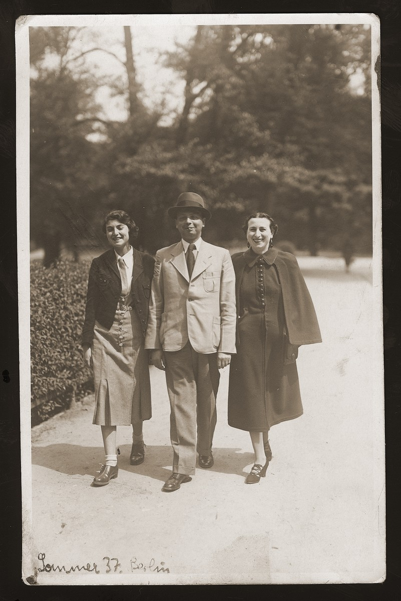 Maks Bilauer, donor's future brother-in-law, walks with two of his relatives, during a visit to Berlin.  He later married Rozka Rozen, donor's older sister.