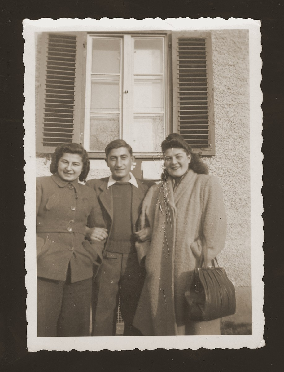 Portrait of Morris Rosen, the donor, with Halinka Goldberg (left) and another friend in the Schwandorf DP camp.