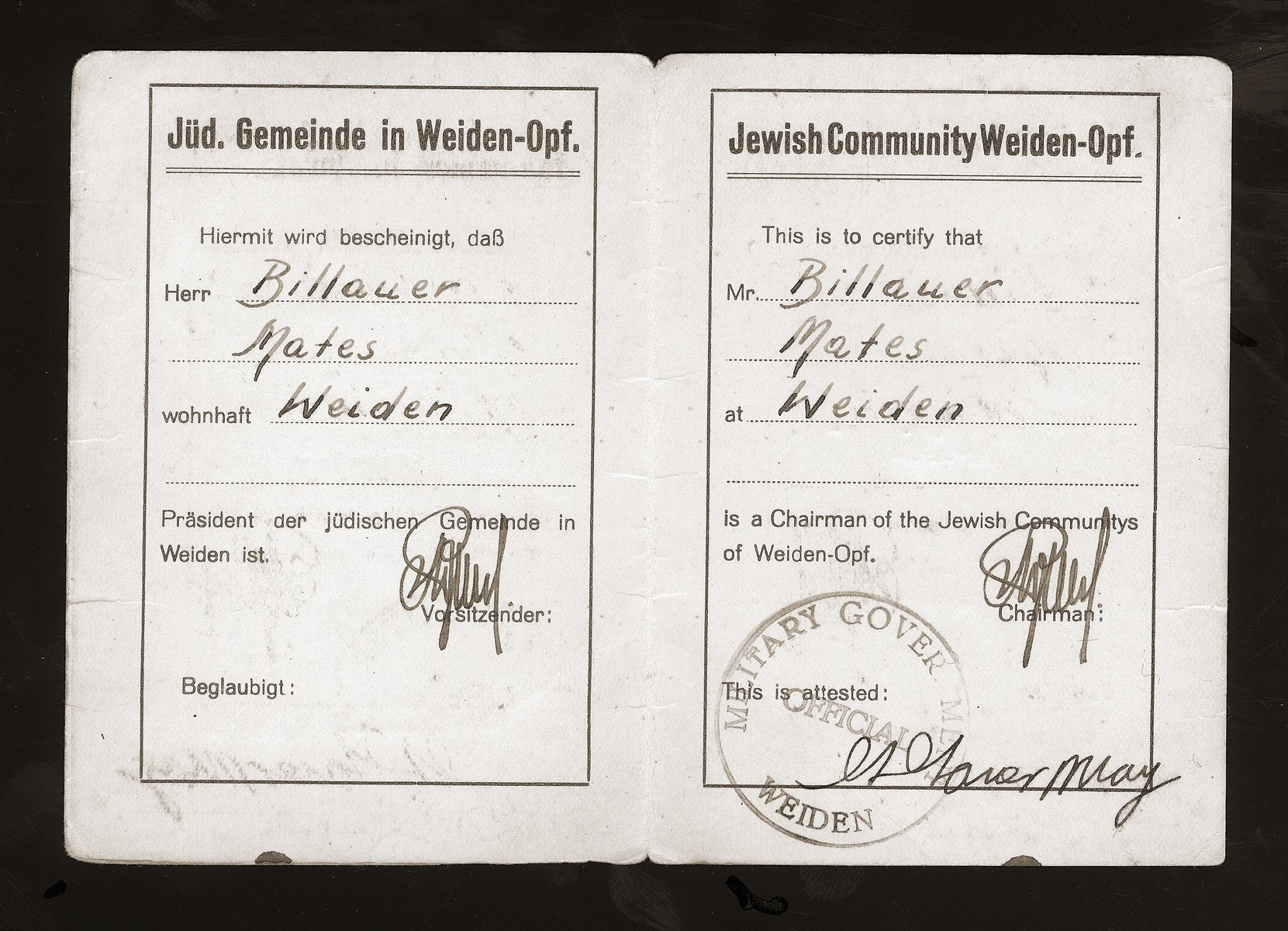 An identification card of Mates Billauer issued by the Military Government in Weiden.