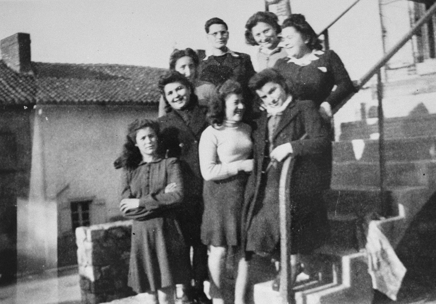Group portrait of Jewish youth at the OSE children's home in Poulouzat.