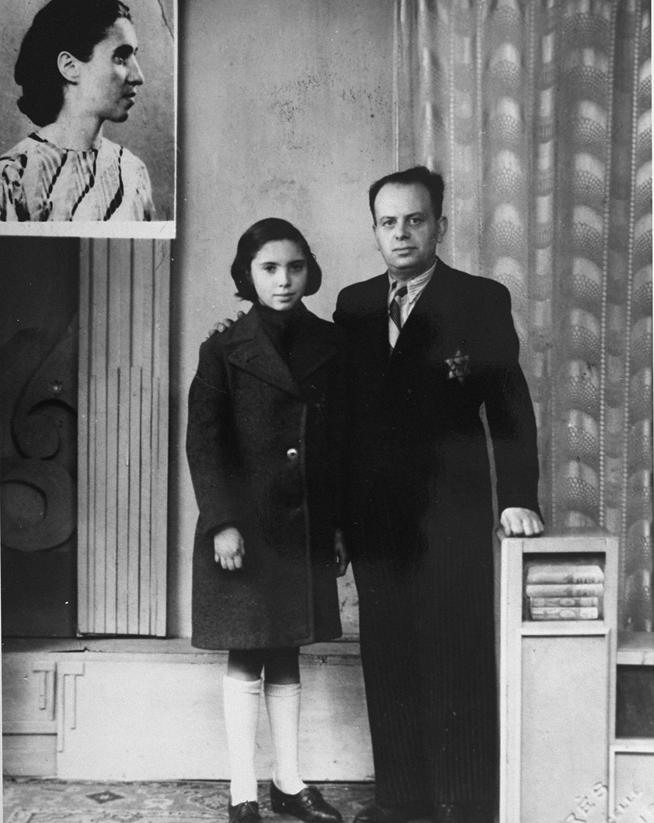 Portrait of twelve-year old Marcelle Burakowski and her father with a photograph of her mother that was incorporated into the upper left corner of the portrait.    Marcelle is wearing a coat which her father, a tailor, had made and given to her that morning.  The photograph was taken during a brief visit together, as Marcelle was already in hiding with a Chrisitian family on the outskirts of Paris.  The photograph of her mother was incorporated into the portrait upon Marcelle's father's request.