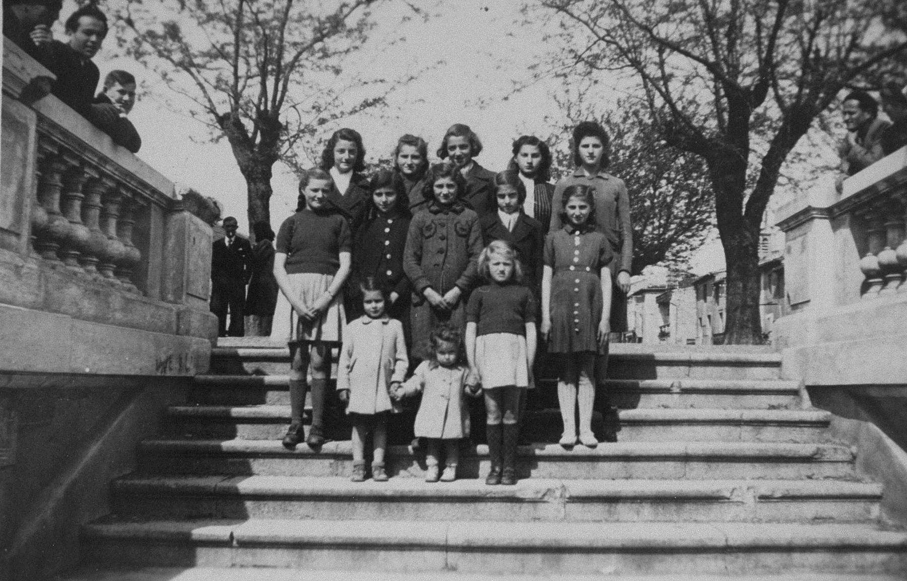 Group portrait of Jewish refugee children sheltered at the OSE children's home in Montagnac.
