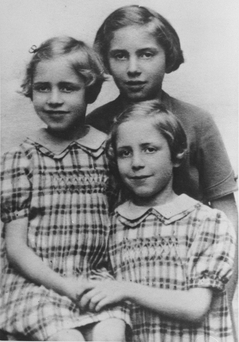 Ten-year-old Marcelle Burakowski Bock (the donor) with her eight-year-old twin sisters, Berthe and Jenny.