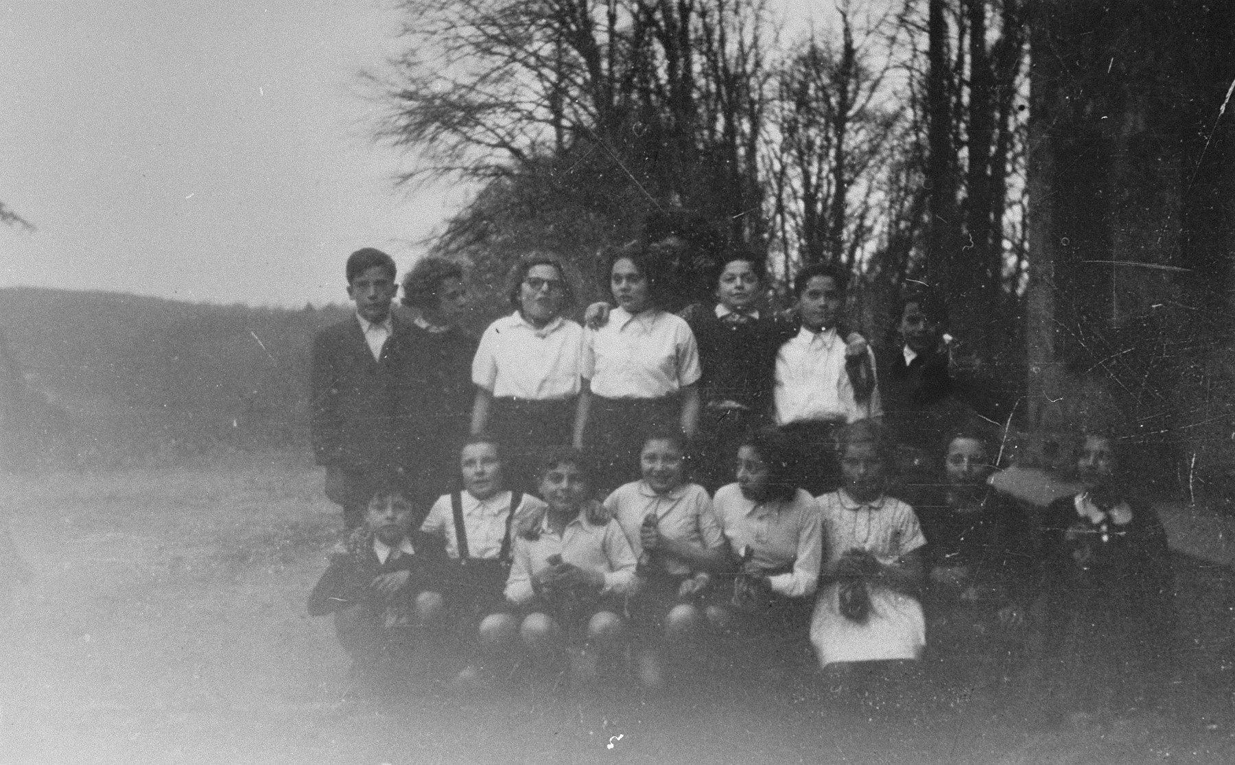 Group portrait of Jewish children at the OSE home in Poulouzat.