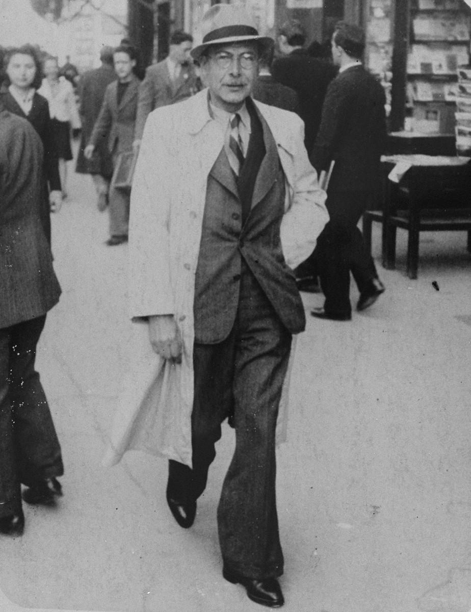 Moritz Schoenberger walks down a street in Marseilles.