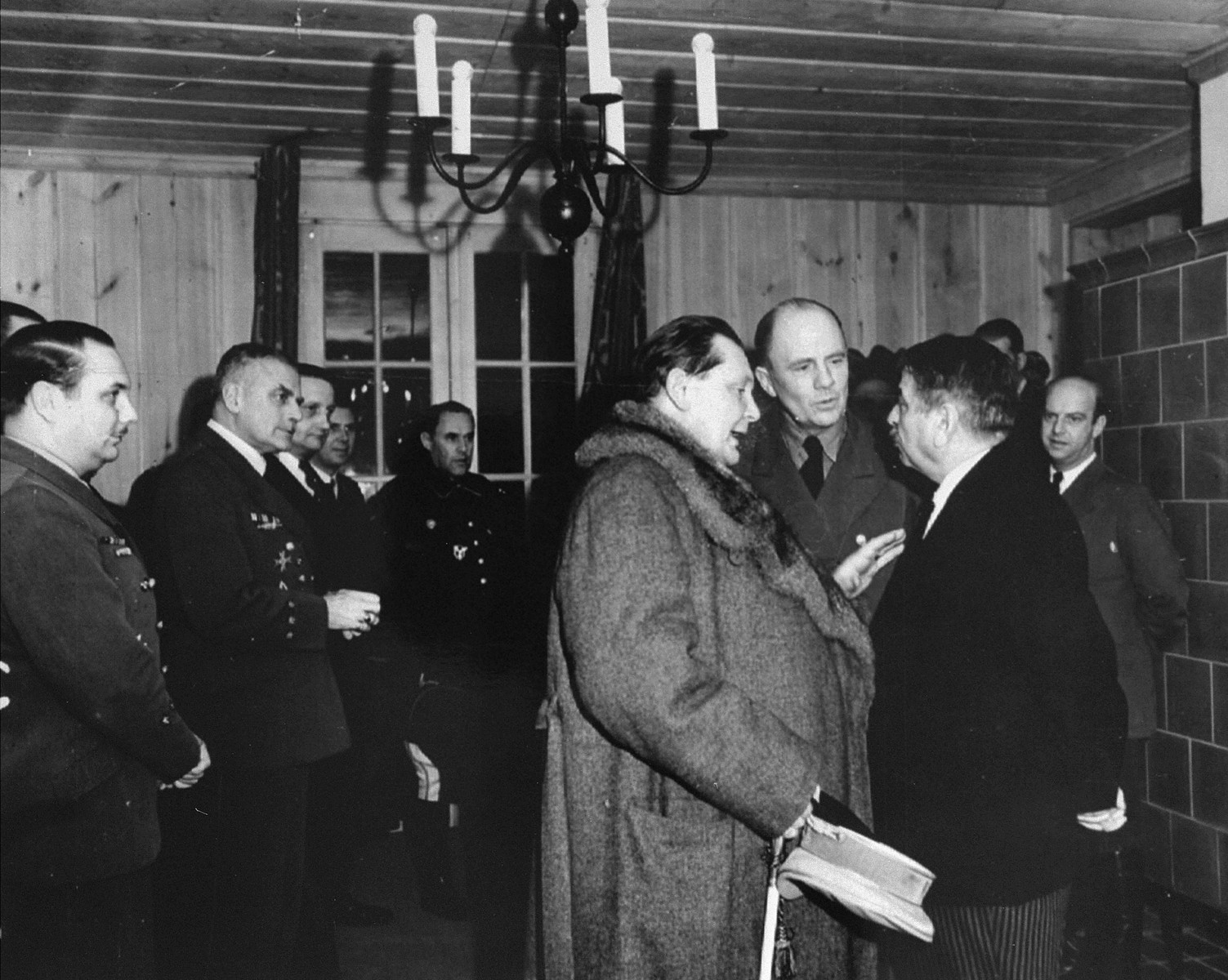 Hermann Goering speaks with Pierre Laval, the head of the Vichy regime, during an official visit.