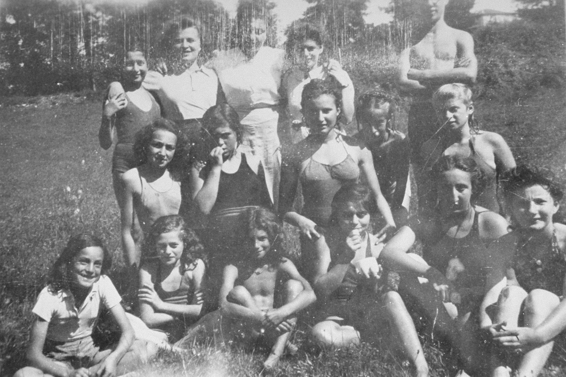 Group portrait of Jewish children at the OSE children's home in Poulouzat.