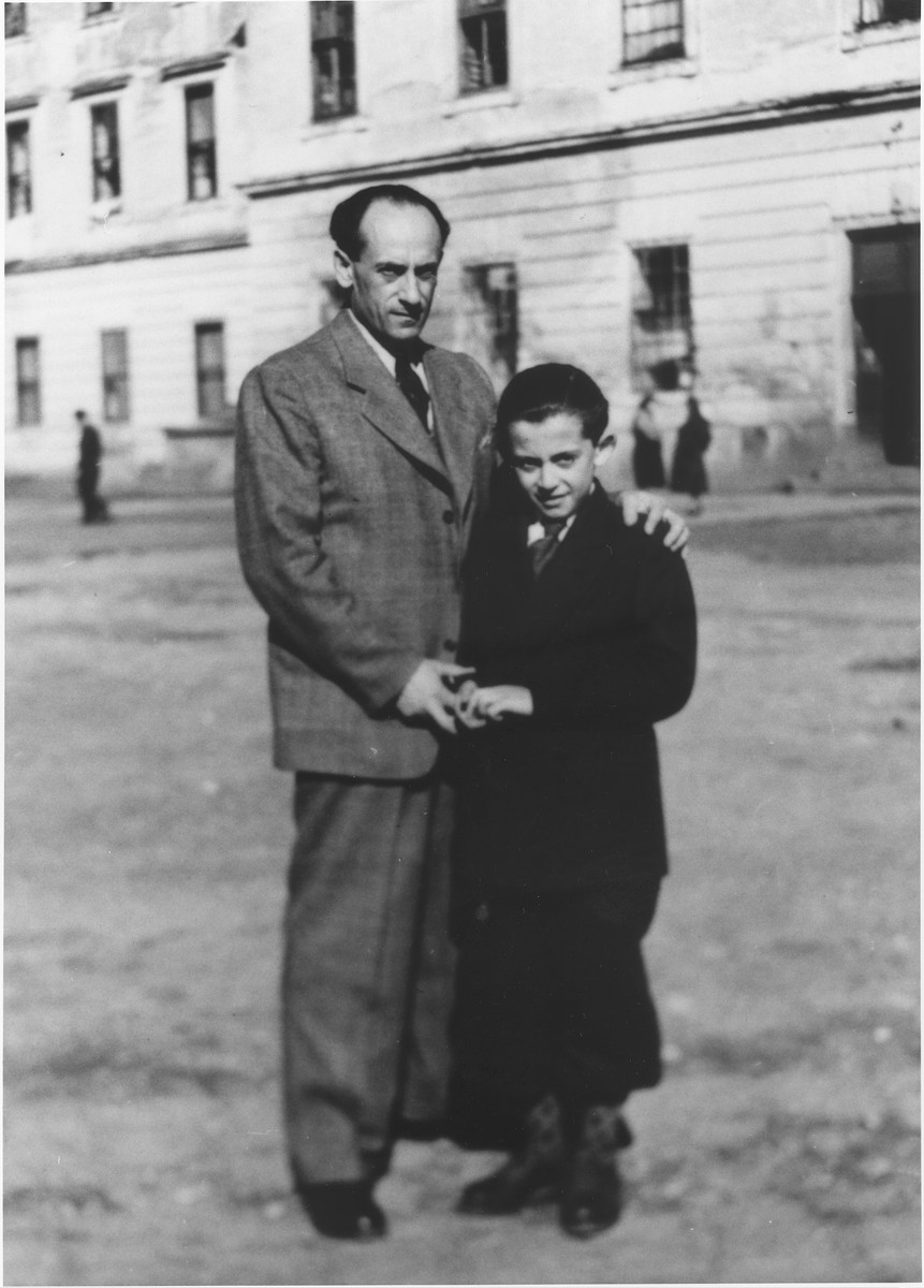 Alexander and Wolfgang Schaechter pose outside in the Enns displaced persons camp.