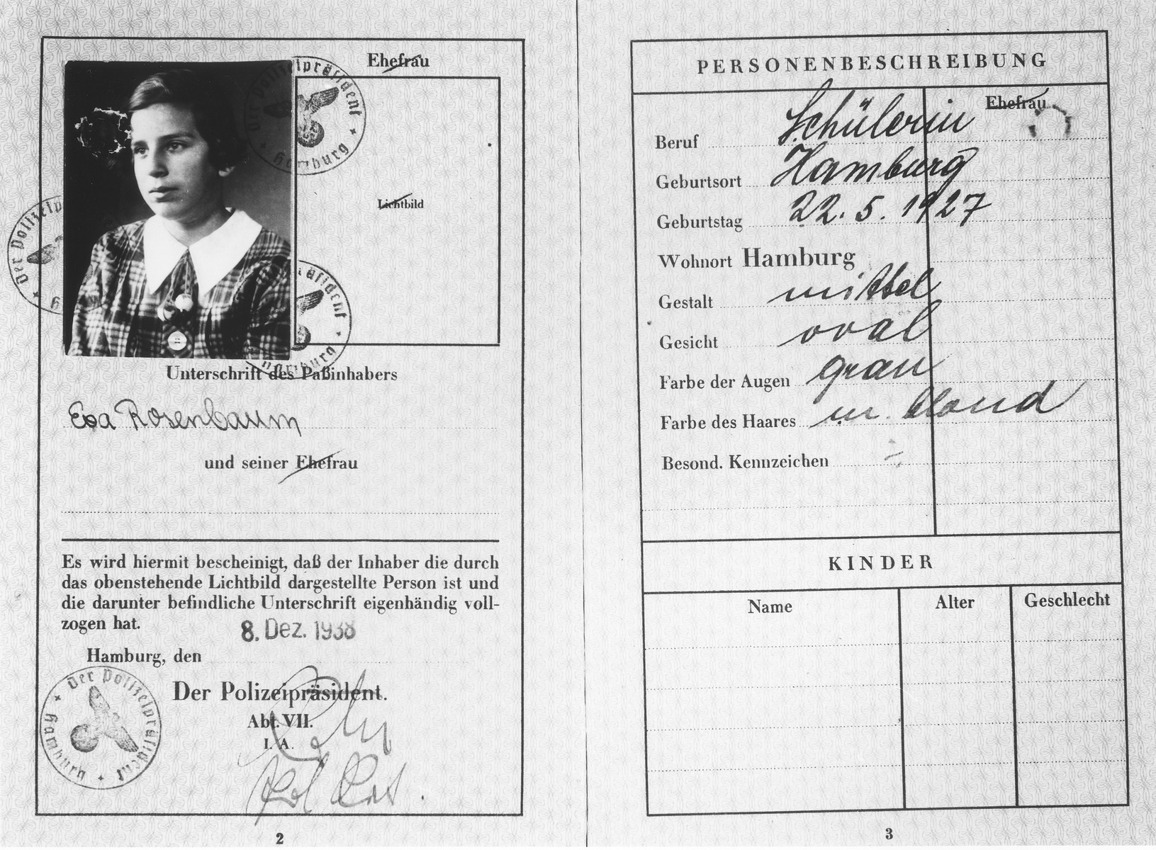 Passport issued to Eva Rosenbaum a few days before she left on a Kindertransport to England.