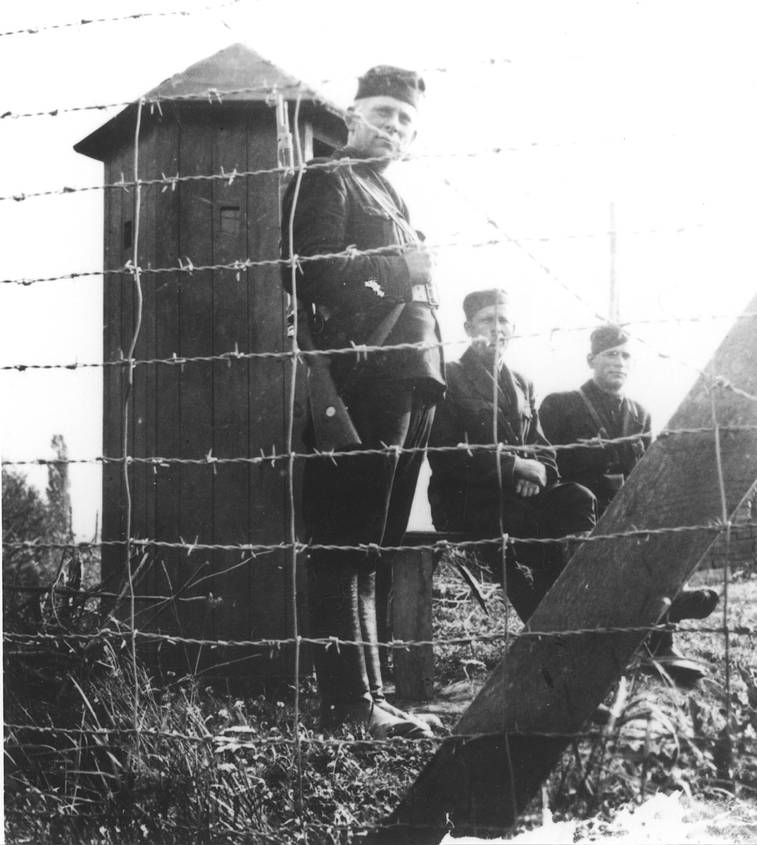 Slovak guards at a guard post in the Novaky labor camp.