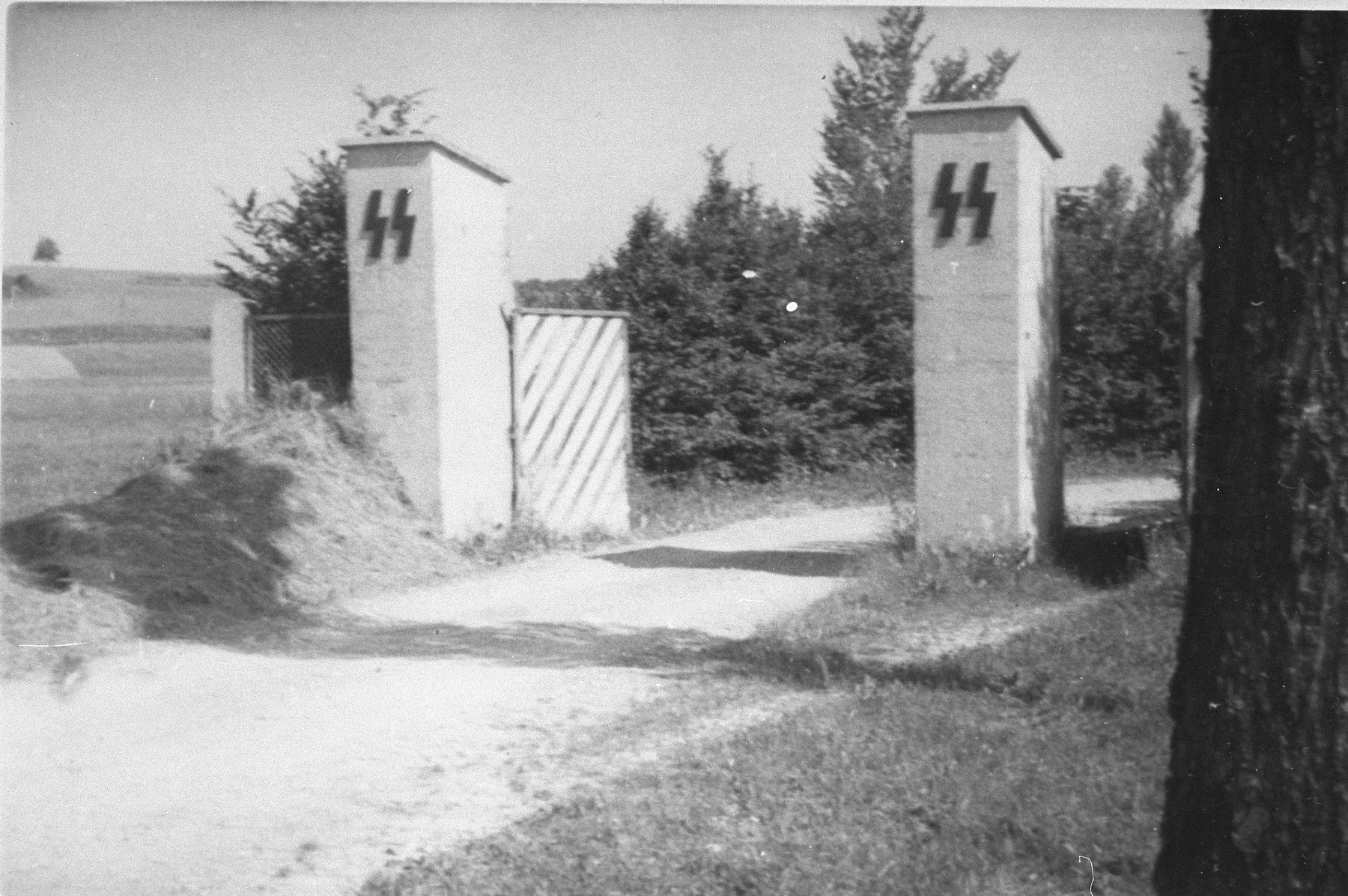 The entrance to an SS troop training area constructed near the Ohrdruf concentration camp.