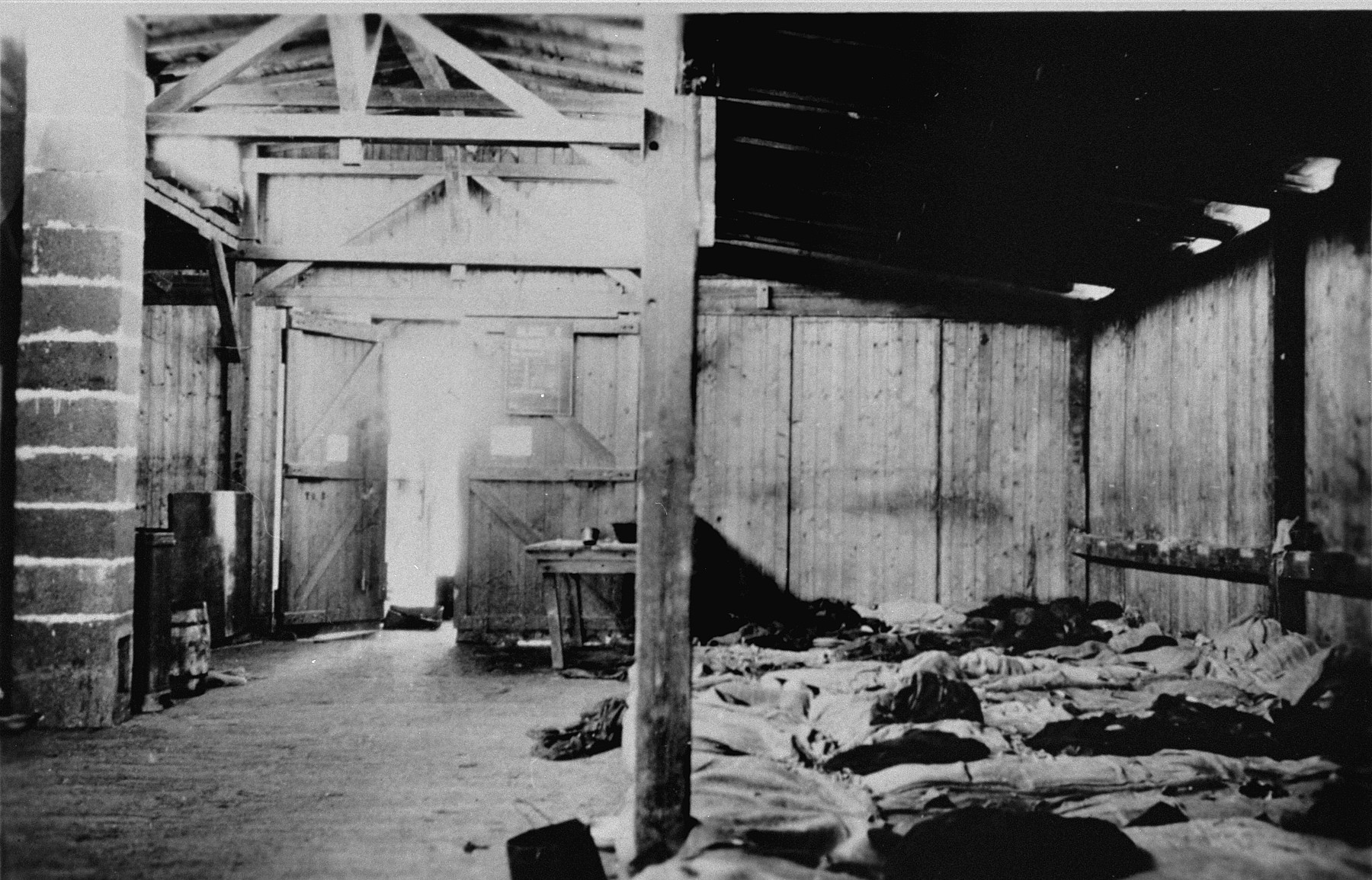 The interior of a barracks in the newly liberated Ohrdruf concentration camp.