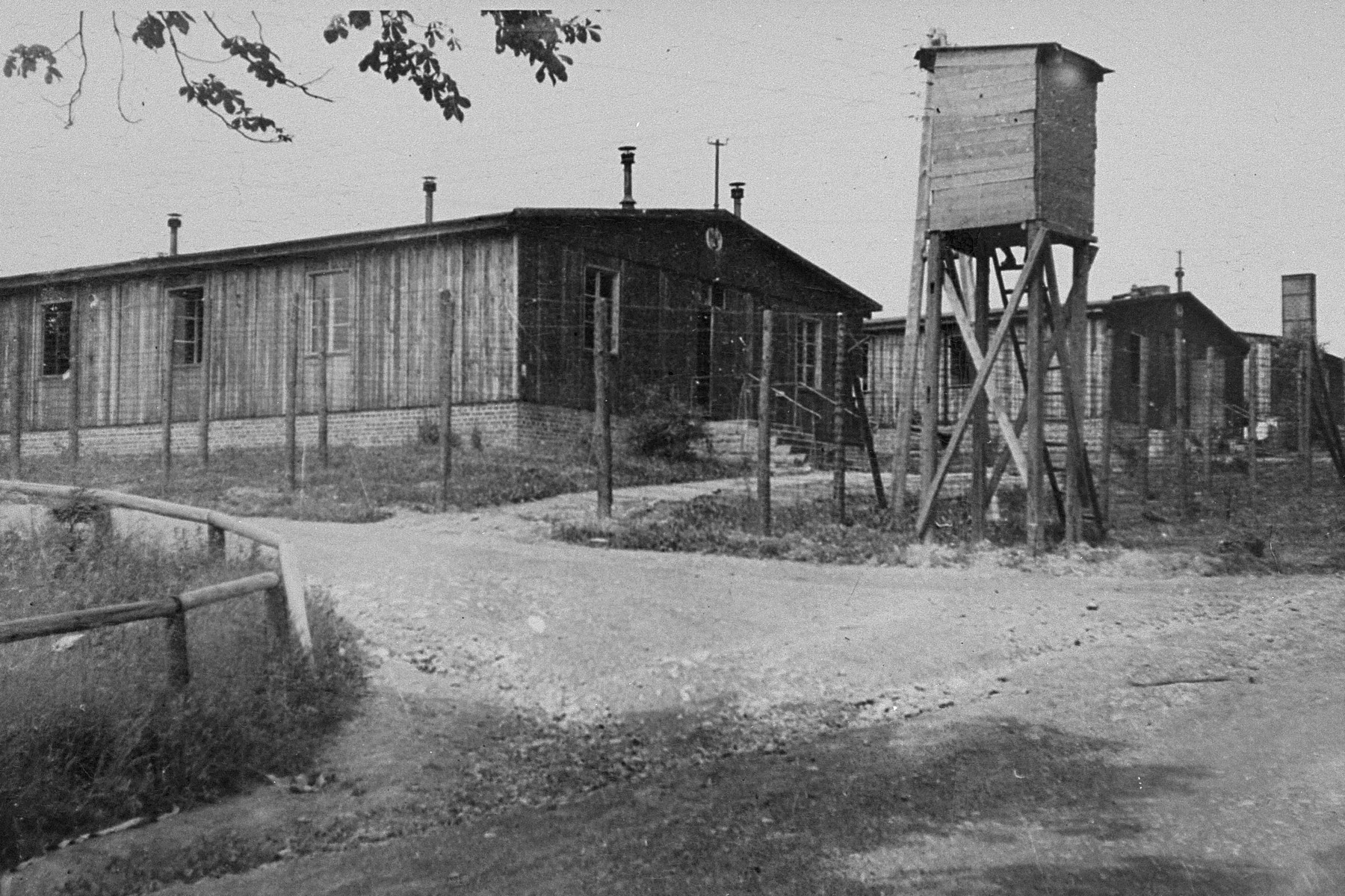 Barracks and a watch tower in Ohrdruf.