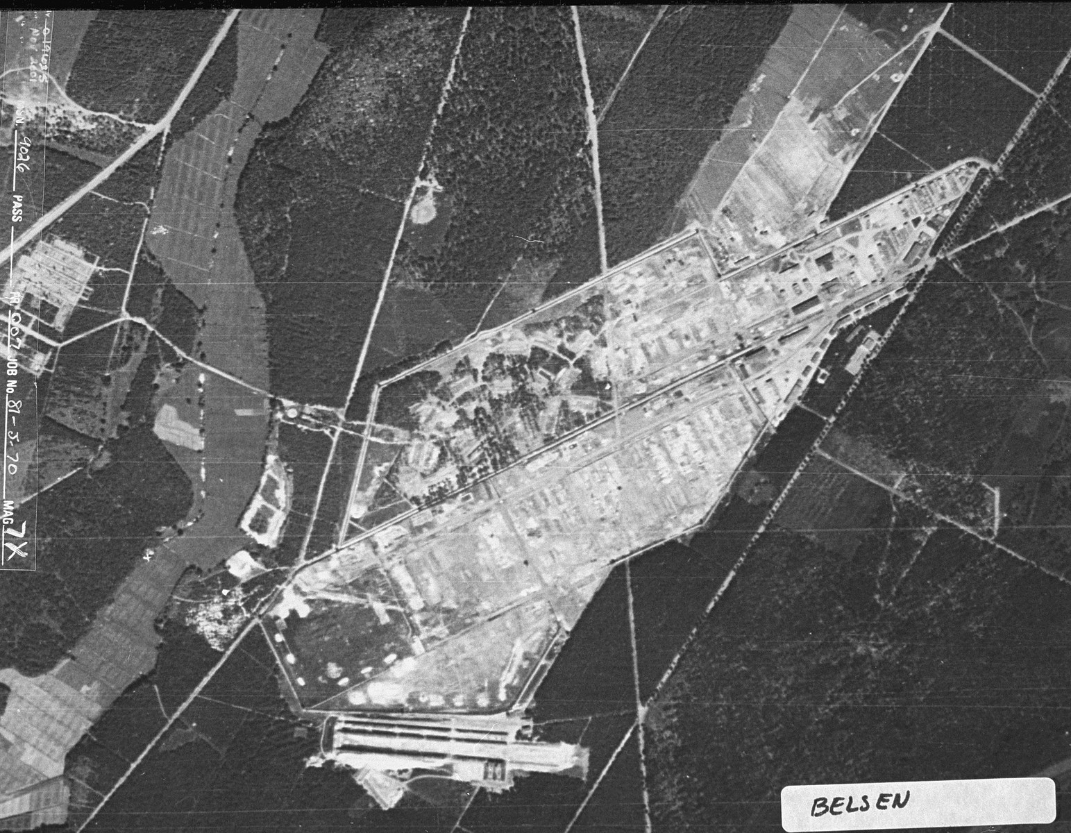 Aerial reconnaissance photograph of the Bergen-Belsen concentration camp area. [oversized photograph]