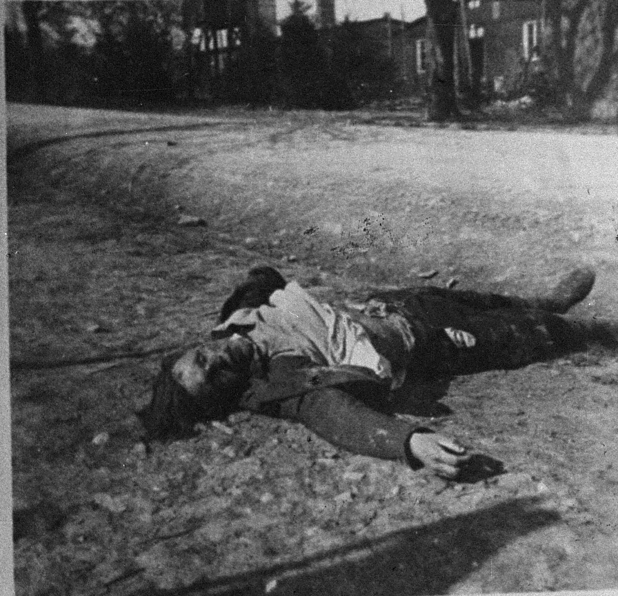 The corpse of an SS guard killed by survivors in Ohrdruf.