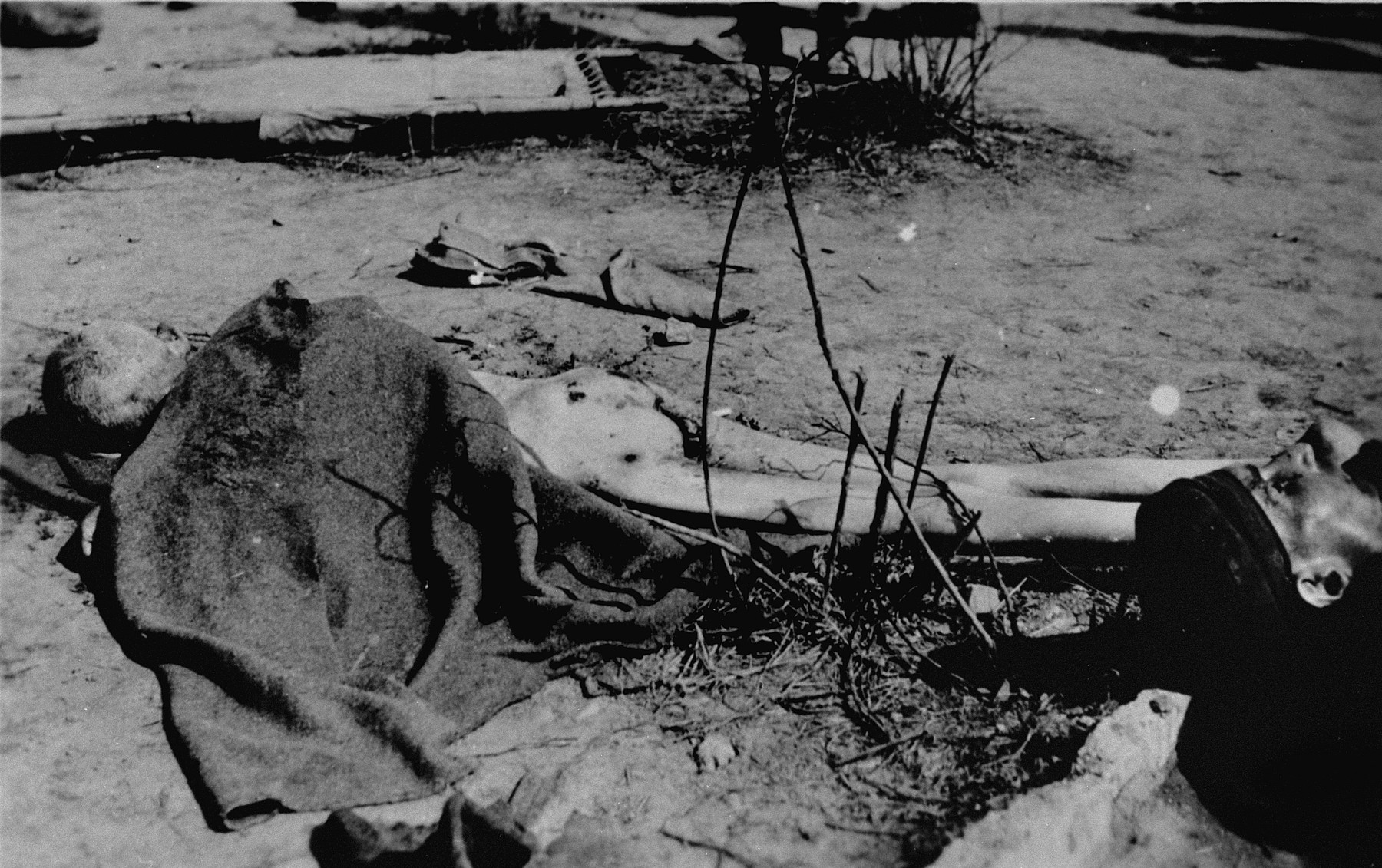 The corpse of a prisoner who was executed just prior to the SS evacuation of Ohrdruf.