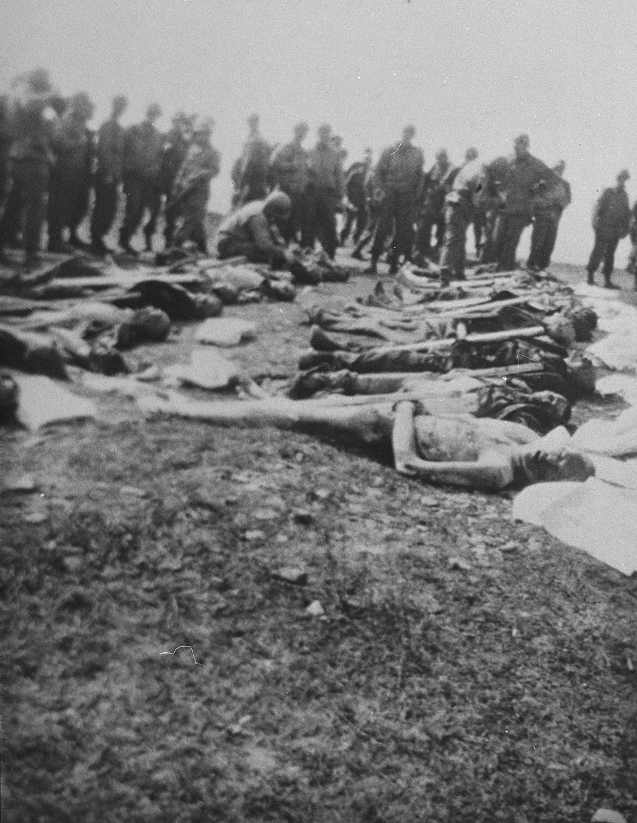 American soldiers look on as the corpses of prisoners killed in Ohrdruf are given numbered grave markers and laid out in preparation for burial.