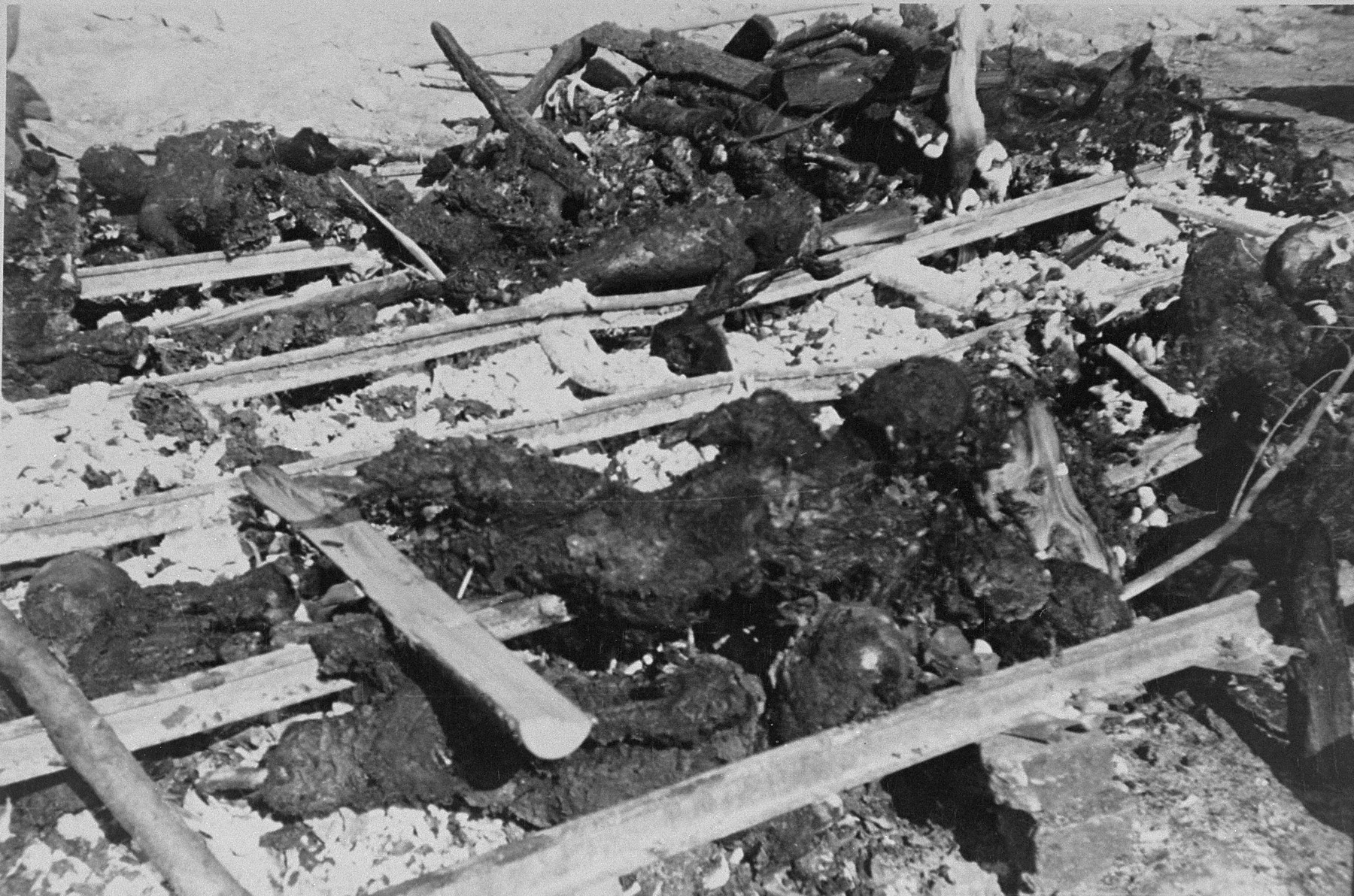 The charred remains of prisoners hastily burned by camp personnel prior to the evacuation of Ohrdruf.