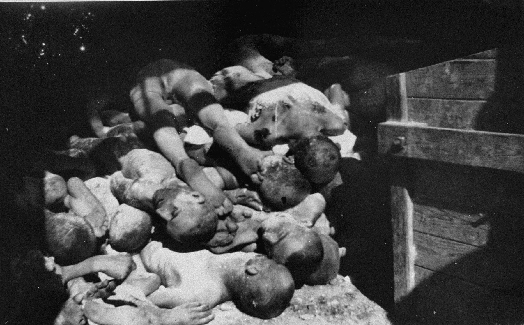 Prisoners' corpses piled in a shed.