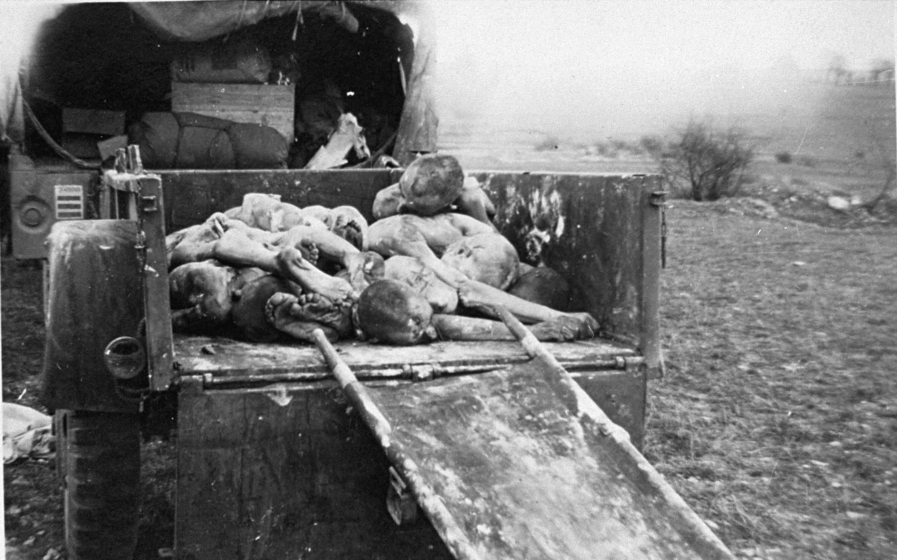 The corpses of prisoners killed at Ohrdruf in a wagon awaiting burial in a mass grave.