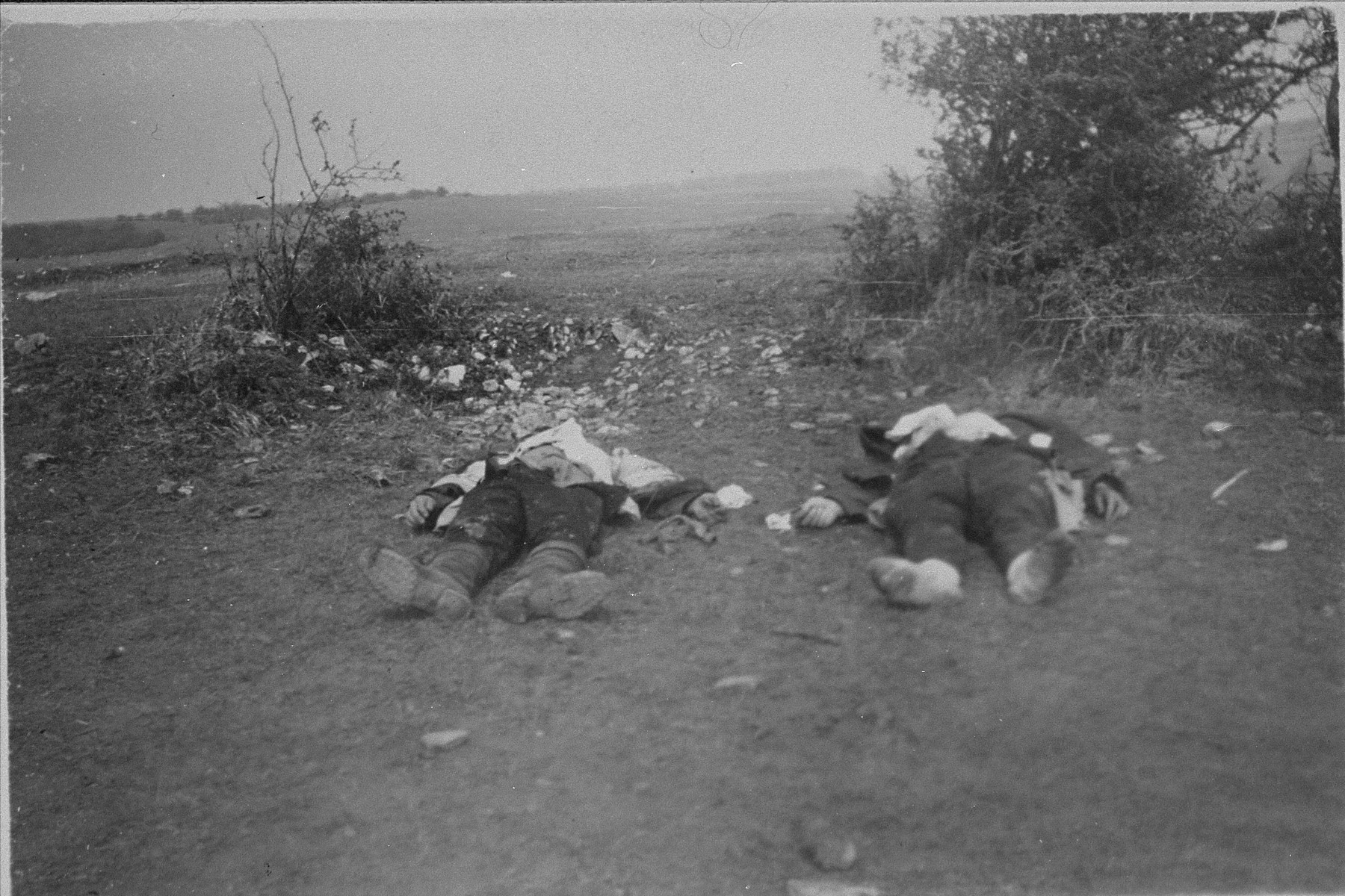 The corpses of two SS guards killed by survivors in Ohrdruf.