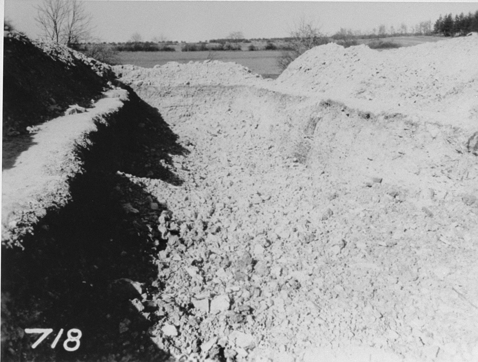 View of a mass grave in the Ohrdruf concentration camp from which 2,000 corpses were removed for proper burial.
