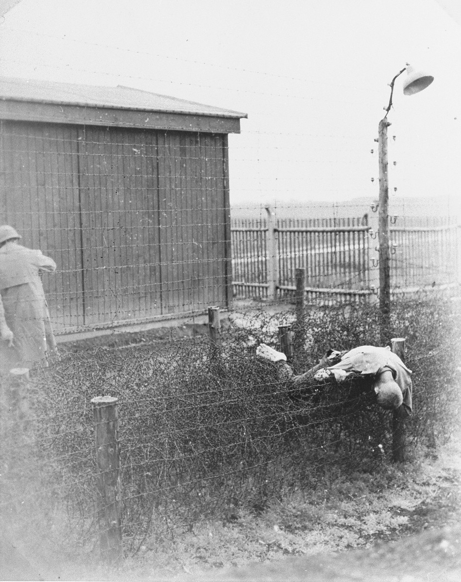 American soldiers stand near a corpse lying on the barbed wire fence in Leipzig-Thekla, a sub-camp of Buchenwald.