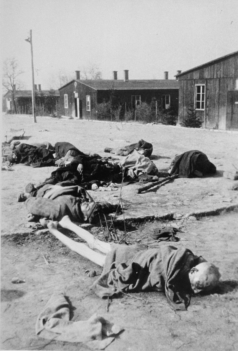 The corpses of prisoners who were summarily executed prior to the German evacuation of the camp.