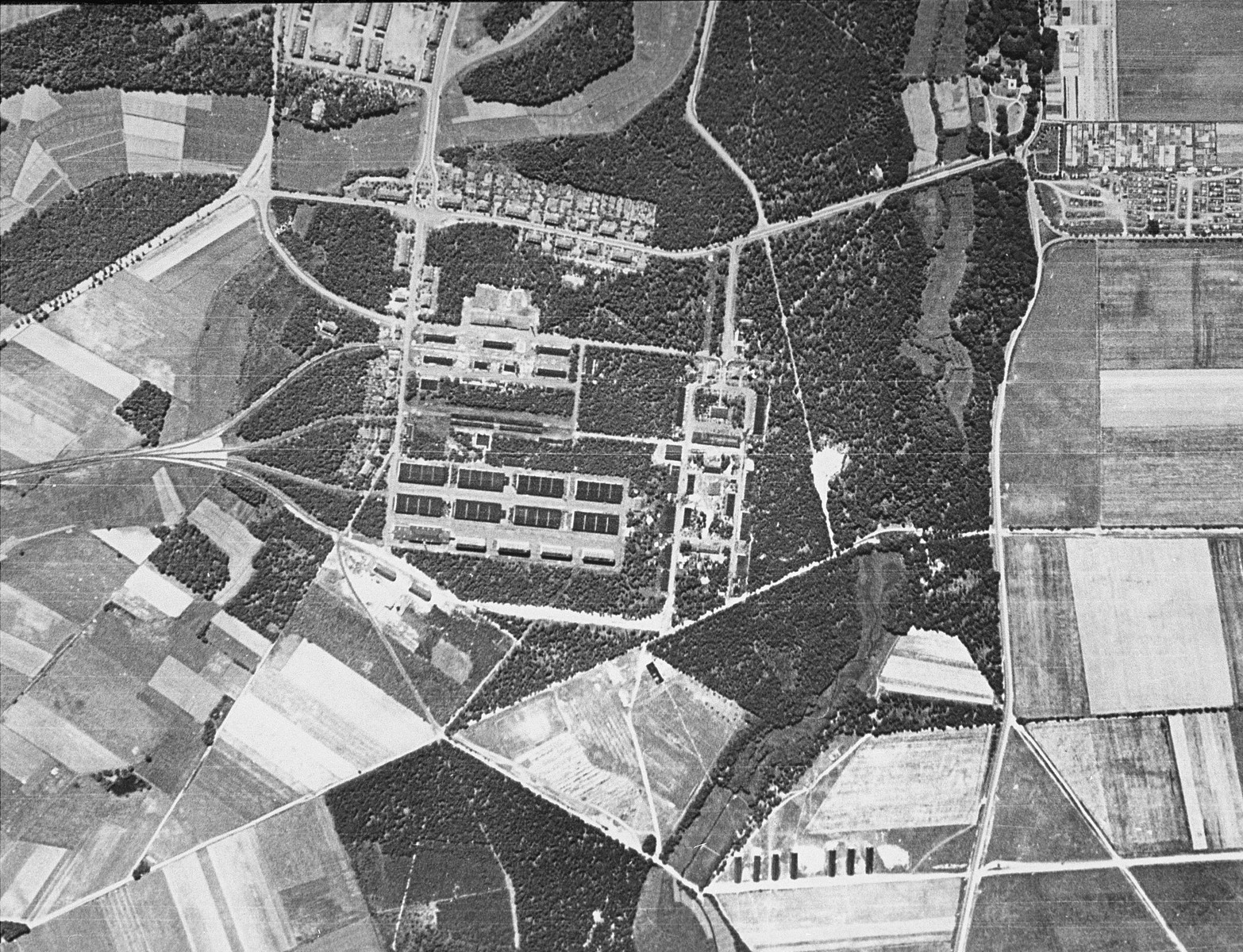 Aerial reconnaissance photograph of the military camp two kilometers from the Bergen-Belsen concentration camp area. [oversized photograph]