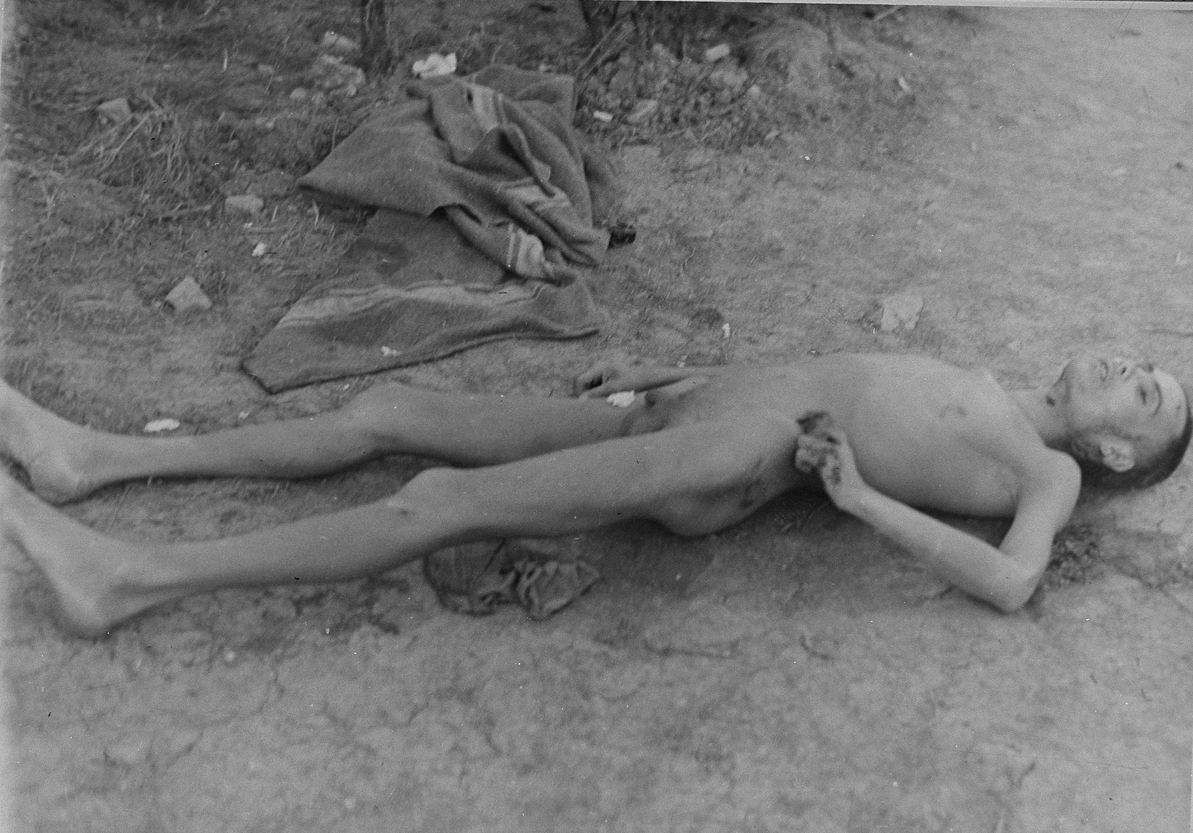 The corpse of a dead prisoner in Ohrdruf.