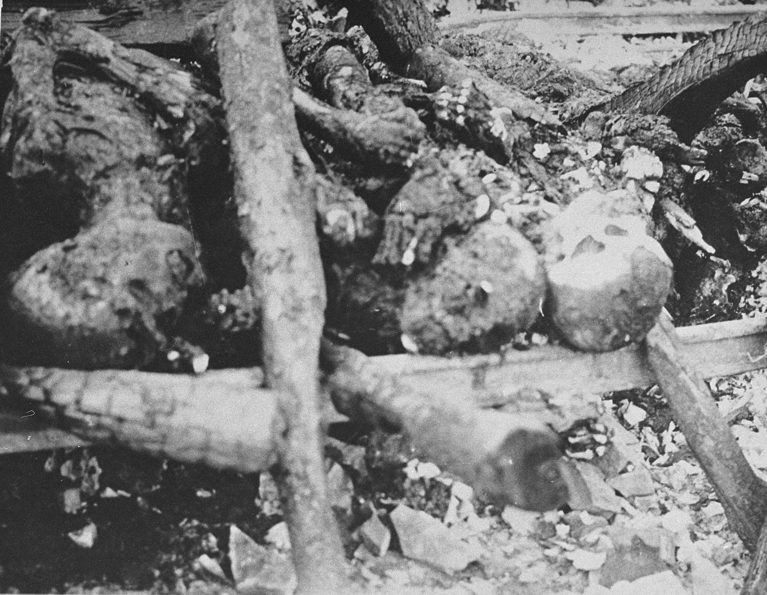 The charred remains of prisoners burned by the SS prior to the evacuation of Ohrdruf.