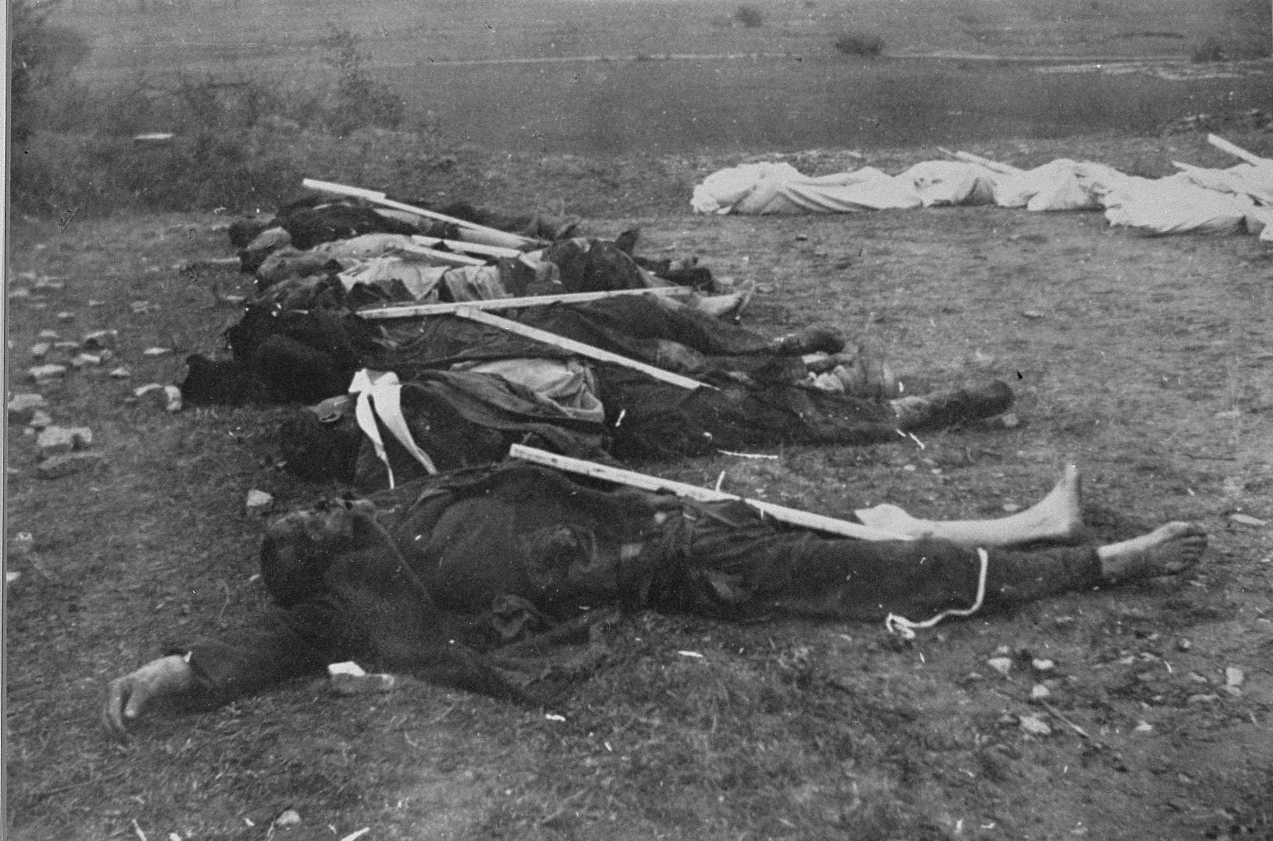 Corpses awaiting burial.