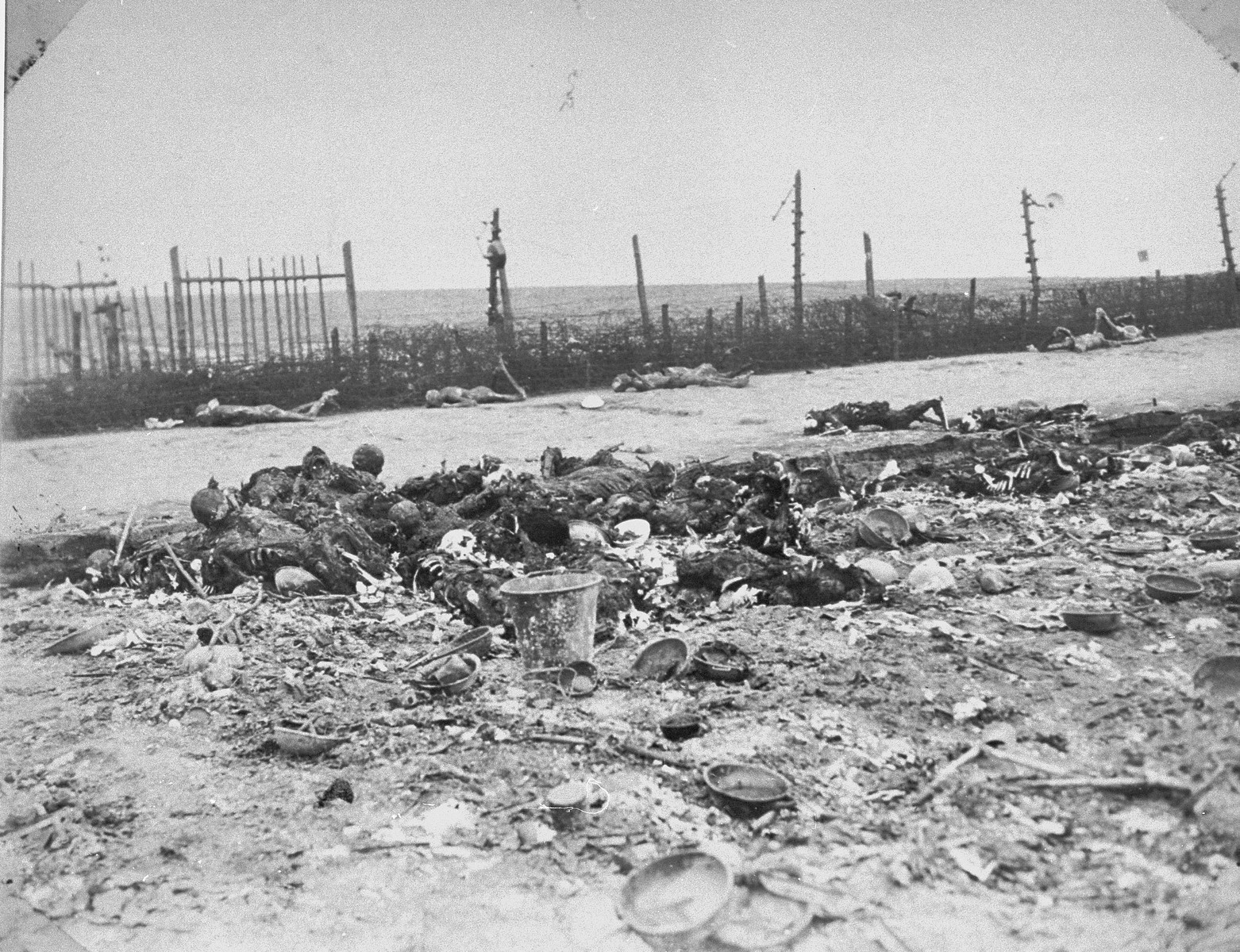 Charred corpses lie among the ruins of a razed barracks in Leipzig-Thekla, a sub-camp of Buchenwald.
