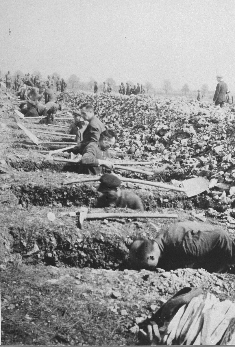 German civilians from nearby towns dig graves for corpses found in the Ohrdruf concentration camp by U.S. troops.