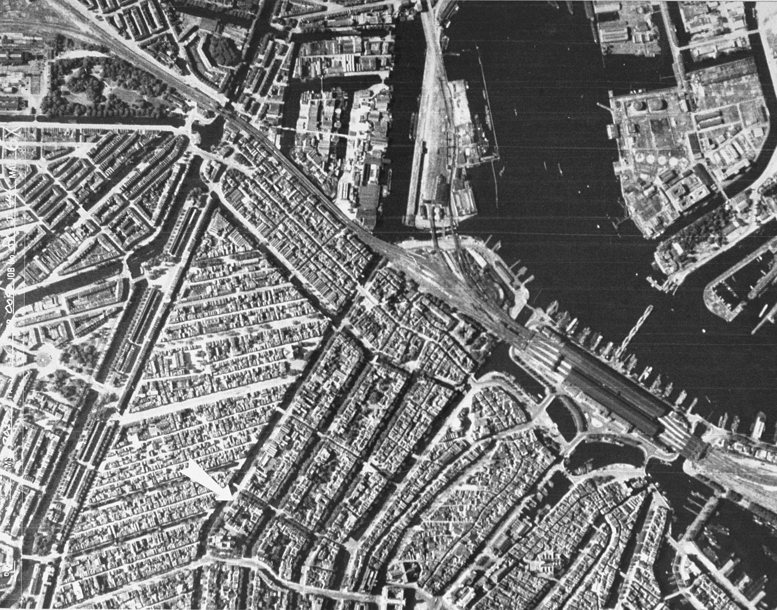 An aerial view of Amsterdam, taken for German military use. [oversized photo]