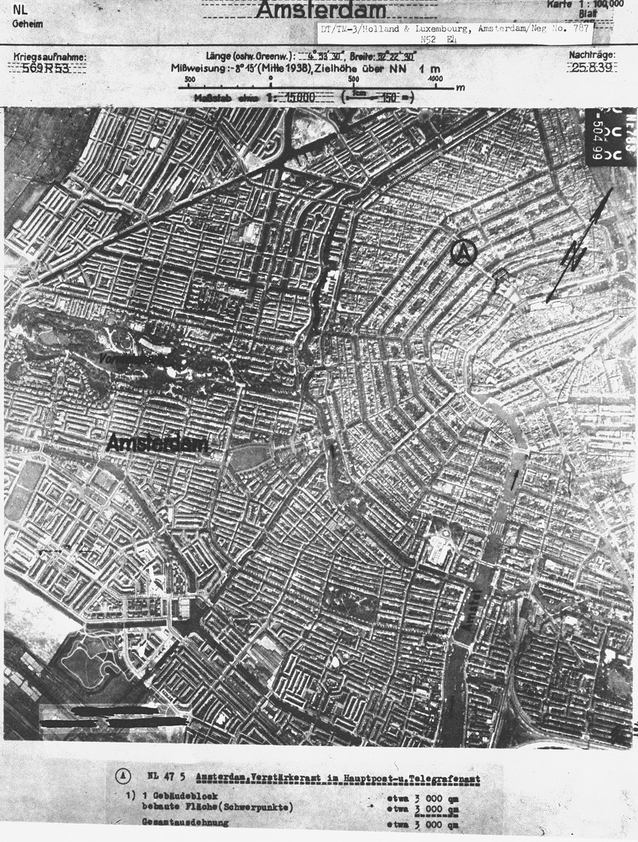 An aerial view of Amsterdam, taken before the war for German military use. [oversized photo]