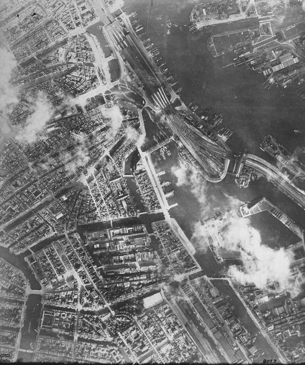 An aerial view of Amsterdam, taken for Allied military use.  [oversized photo]
