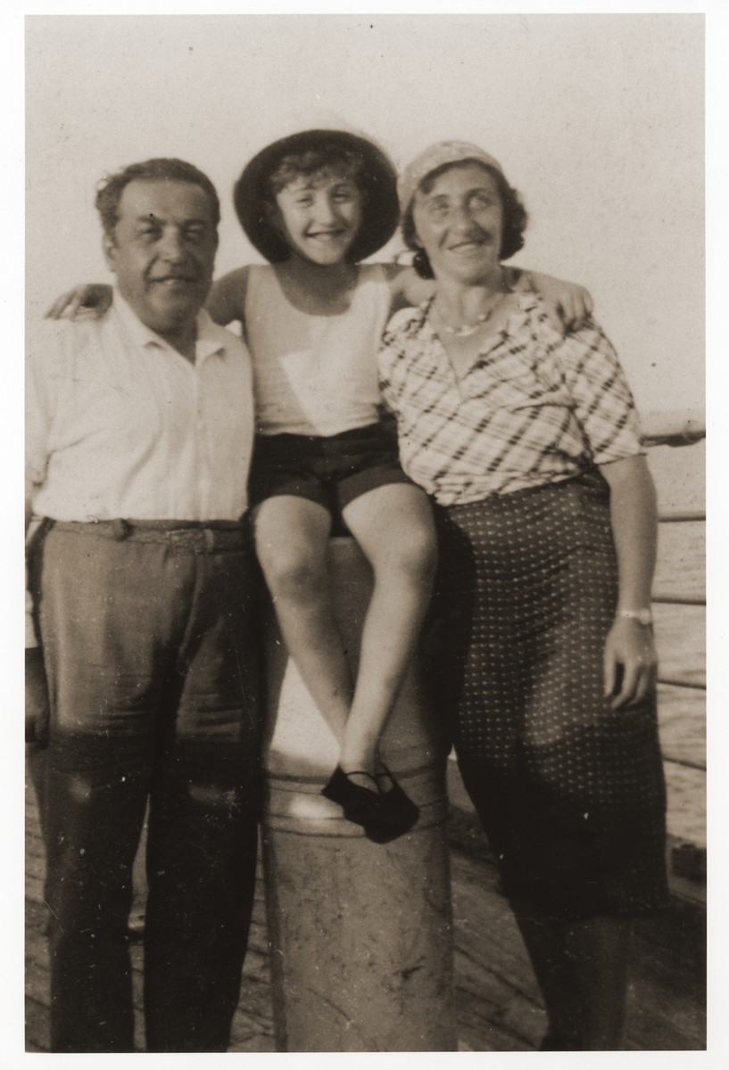 Portrait of a German Jewish refugee family in Harbin, China.    Pictured from left to right are Deitmar, Helmut and Ilse Stern.