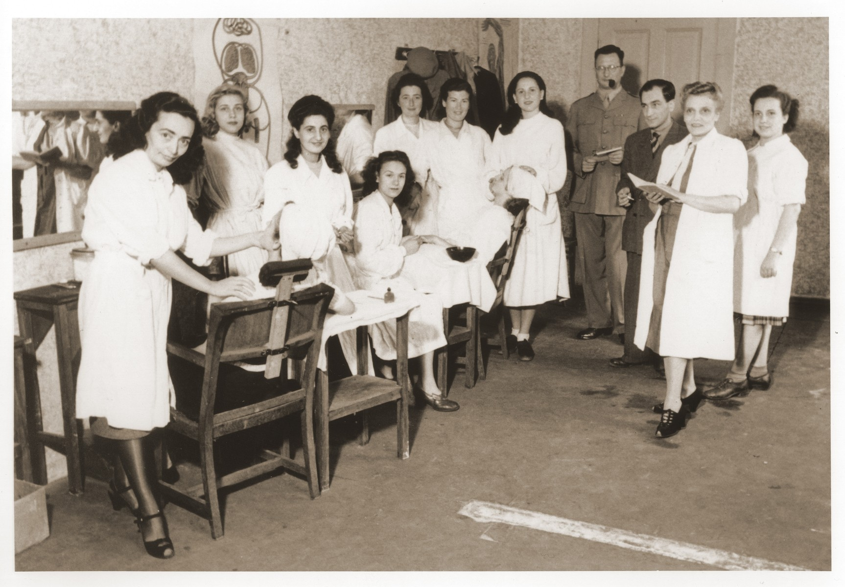 Dorothea Isaacsohn attends a beautician's class at the ORT school in Berlin.