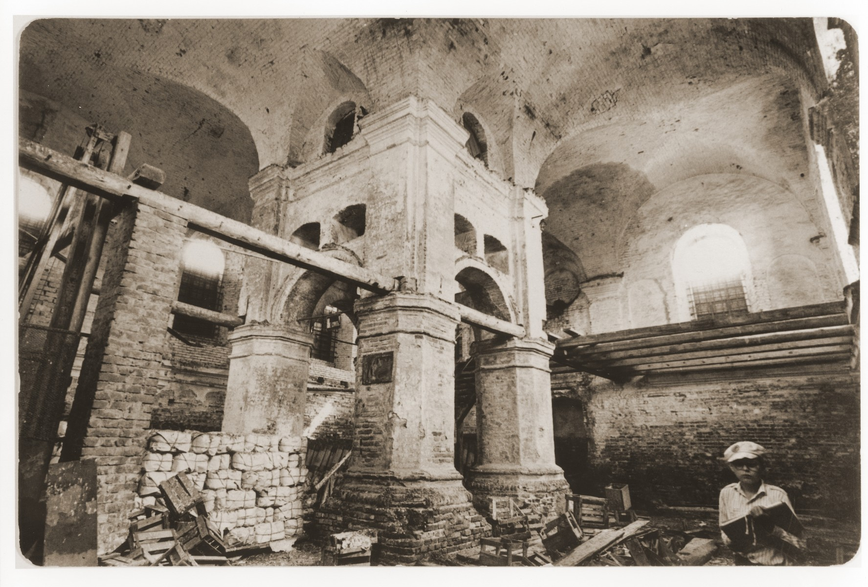 Interior of a destroyed synagogue in Bykhov.