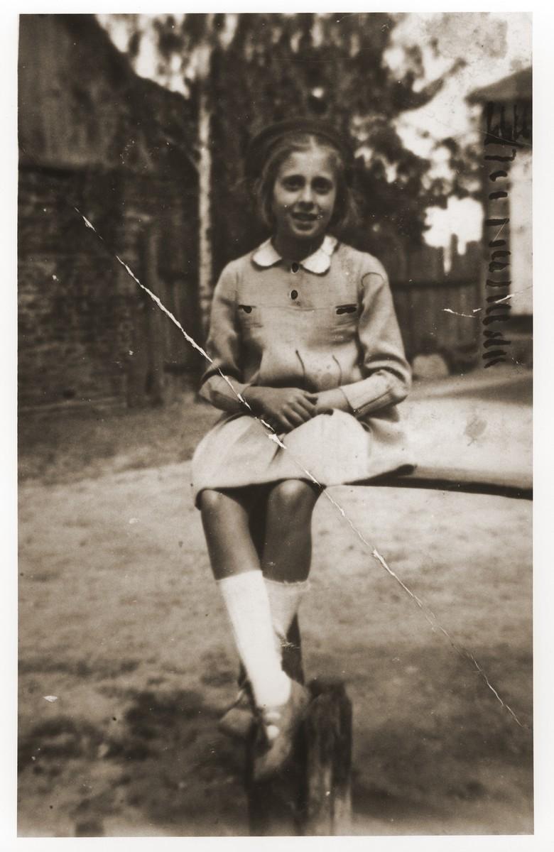 Portrait of Danuta Schapira while in hiding on the Gotner farm in Zaklikow.