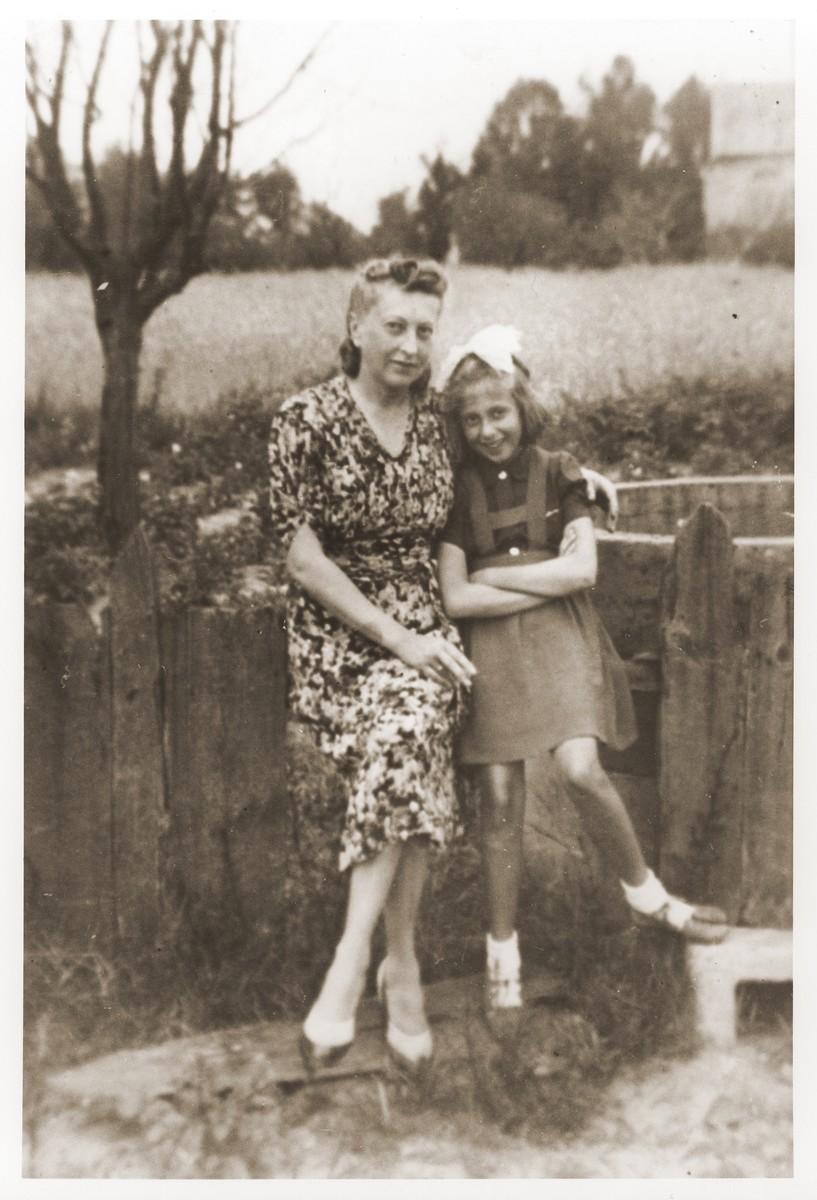 Danuta and Ludwiga Schapira on the farm where they hid in the village of Zaklikow.