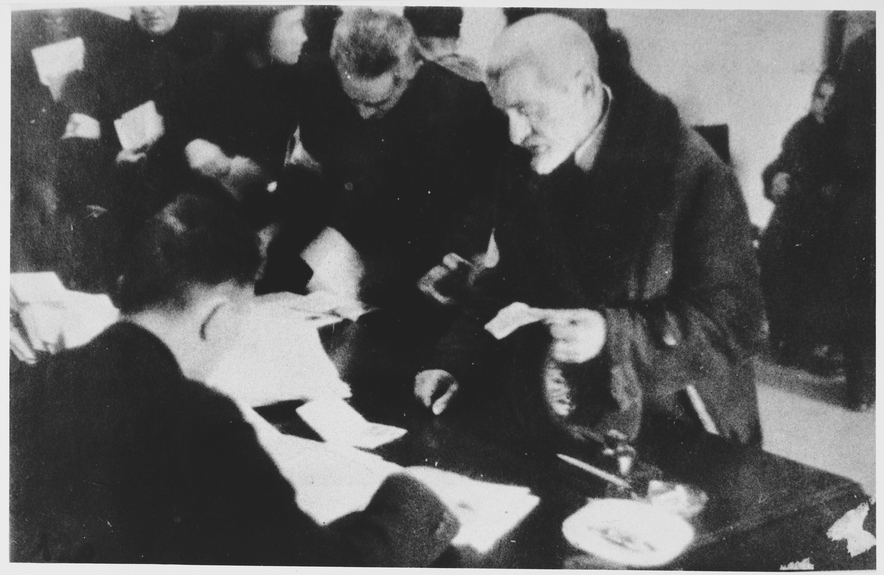 Jewish residents register in an unidentified ghetto.