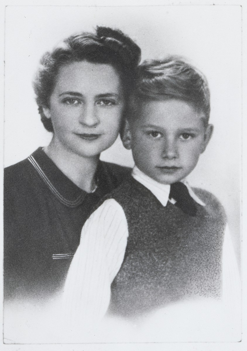 Portrait of Bronislawa Rechtszafen and her son, Edward shortly before they left the ghetto for the Aryan side.