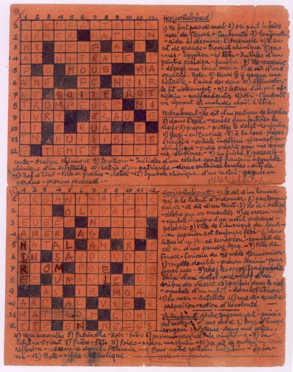 Crossword puzzle created by Leo Bretholz during his months of solitary confinement in a prison in Tarbes, France.