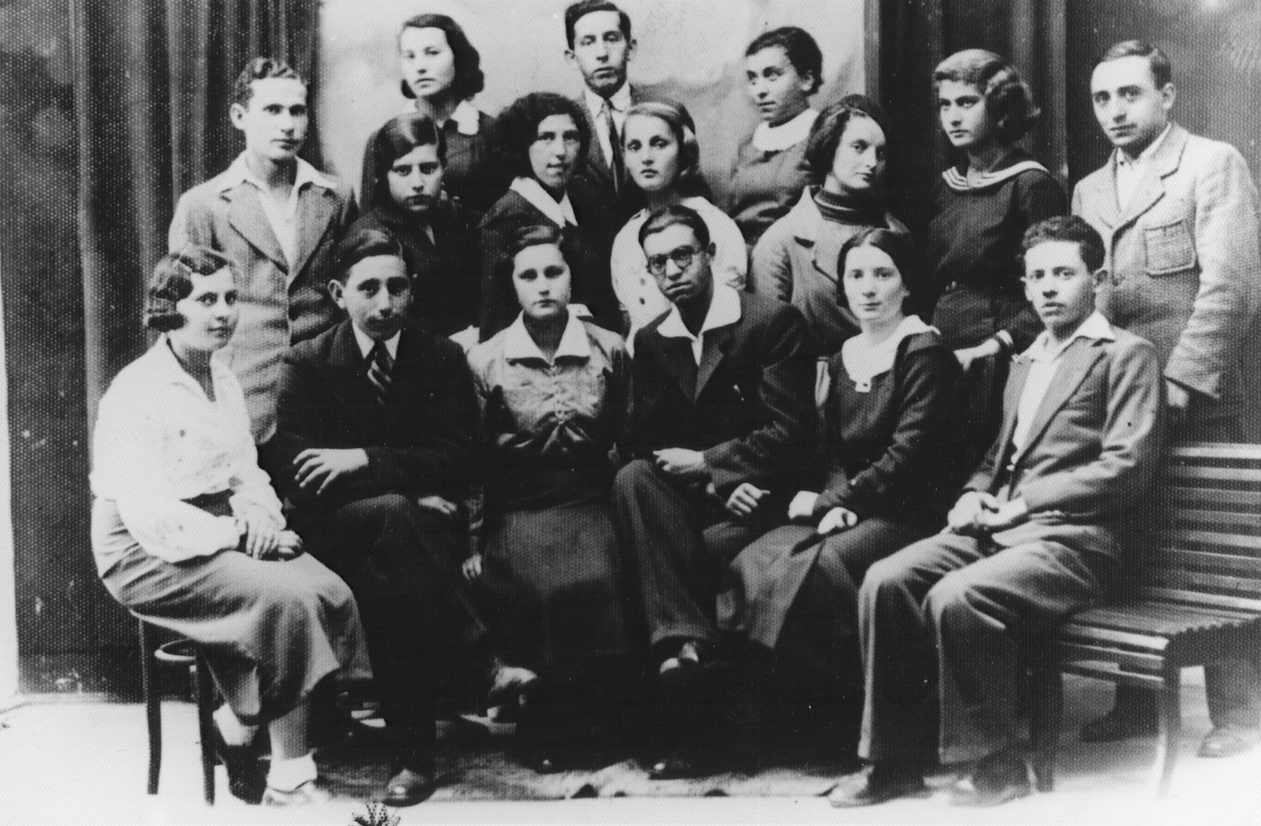 Group portrait of members of the Hashomer Hatzair Zionist youth movement.  Among those pictured is Shmuel (Miles) Lerman (first row, second from the left).