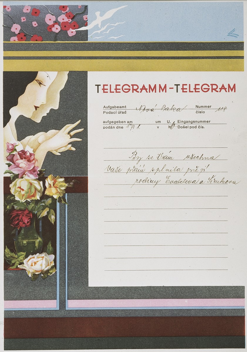 Decorative telegram congratulating a Czech Jewish couple, Blanka and Pavel Heller, on their wedding.