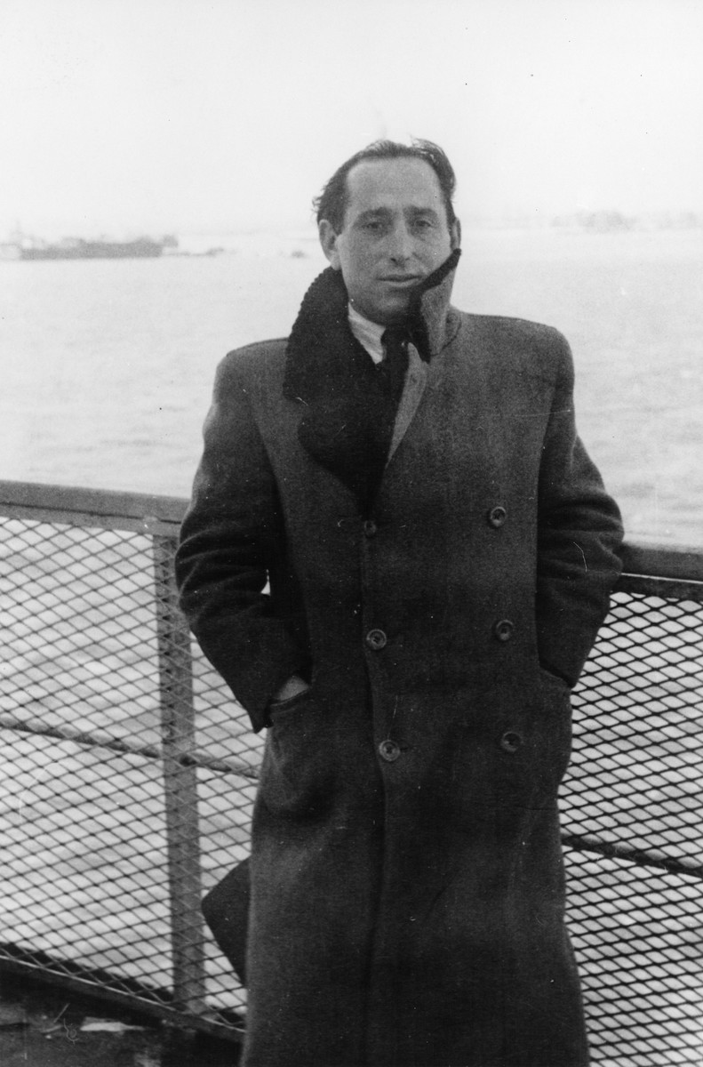 Portrait of Shmuel (Miles) Lerman on the deck of the SS Marine Perch upon its arrival in New York harbor.
