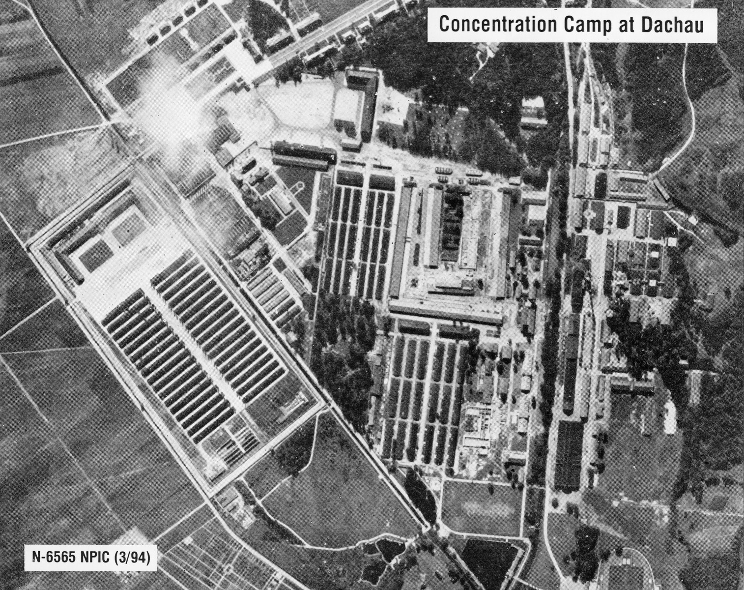 An aerial photograph of the Dachau concentration camp.  [oversize print]